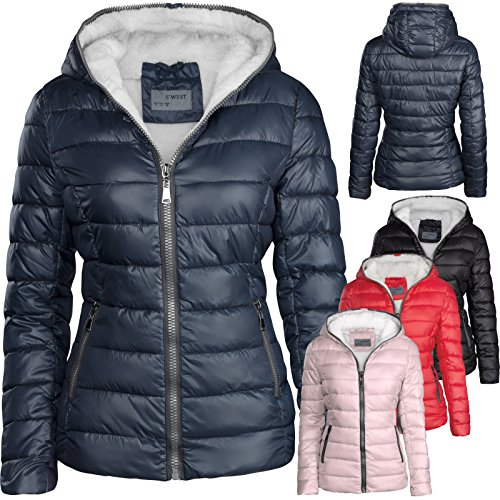 on sale 31123 6eba4 S'West Damen Winterjacke GEFÜTTERT STEPP DAUNEN Optik Kapuze Skijacke WARM