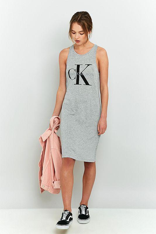Calvin Jeans - Tanktop-Kleid in Grau mit Logo ...