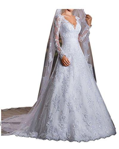 La_mia Braut Prinzess Weiss Langarm Spitze ...