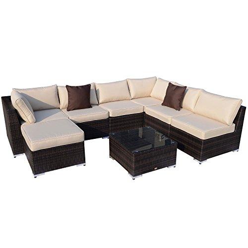 Outsunny Alu Poly Rattan Gartenmöbel 25 Tlg Gartenmöbelset Sofa
