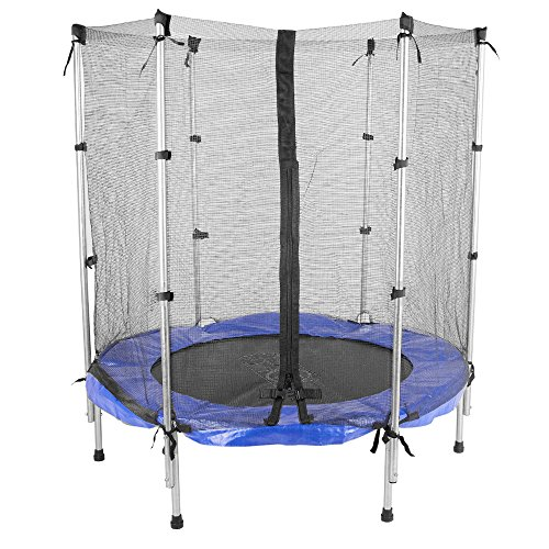 scsports gartentrampolin trampolin mit sicherheitsnetz 140 cm blau. Black Bedroom Furniture Sets. Home Design Ideas