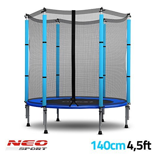trampolin f r kinder mit sicherheitsnetz 140 cm 4 5ft neo sport gartentrampolin. Black Bedroom Furniture Sets. Home Design Ideas