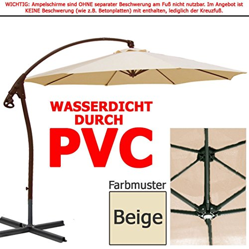 habeig luxus ampelschirm 3m beige wasserdicht durch pvc schirm 300cm sonnenschirm. Black Bedroom Furniture Sets. Home Design Ideas