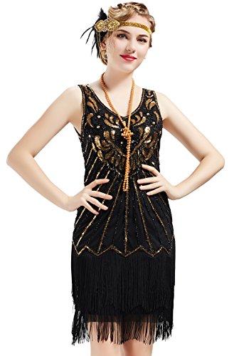 ebeb22caf5a079 BABEYOND Damen Kleid Retro 1920er Stil Flapper Kleider mit Zwei ...