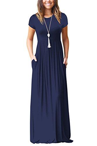 Dasbayla Damen Casual Lange Langarm Kleider mit Taschen ...