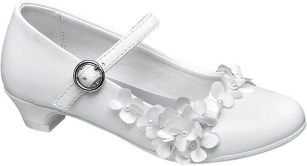 Für festliche Anlässe empfiehlt sich der weiße Kinder Ballerina von Graceland Durch die anmutige Linienführung mit kleinem geschwungenem Absatz tiefem Schuhausschnitt und schmal zulaufender runder Schuhspitze wirkt das Modell sehr elegant Ein dekorativer verstellbarer Riemen über dem Spann und eine wunderschöne wie eine Ranke arrangierte Zierblüten Applikation mit weißen Schmuckperlen komplettieren das Design