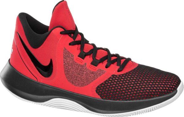 Sieg nach Punkten Der Basketballschuh Air Precision von Nike zeichnet sich durch ein funktionales Design und die rasante Farbgebung in Rot und Schwarz aus Er ist aus Synthetik und Textil gefertigt und gibt mit dem etwas höheren Schnitt und der verstärkten Ferse dem Fuß Halt und Stabilität Schaft und Lasche sind weich gepolstert Ein schwarzer Swoosh unterstreicht den dynamischen Charakter