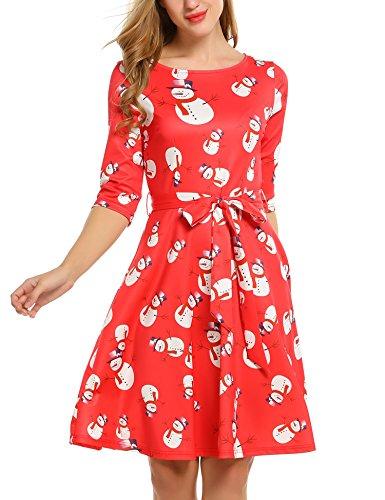 Beyove Damen 3/4 Arm Weihnachten Kleid Rockabilly Kleid ...