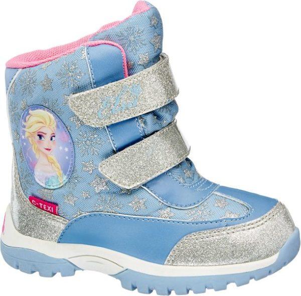 Die Boots von Disney Frozen punkten mit einem zuverlässig vor Kälte schützenden Warmfutter hochwertiger Dei tex Ausrüstung und einem kindgerechten Design in mädchenhaften Farbtönen So ist das Obermaterial in Blau und Silber gehalten teils im Metallic Look glitzernd teils mit Schneeflocken Prints verziert Das Innenmaterial ist pink rosa Highlight ist der wunderhübsche Porträt Print der Schneekönigin Elsa auf der Außenseite
