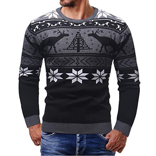 size 40 4ab3d fe611 Celucke Norweger Pullover Herren Strickpullover Warm Strickjacke Winter  Feinstrick Weihnachtspullover mit Rundhals