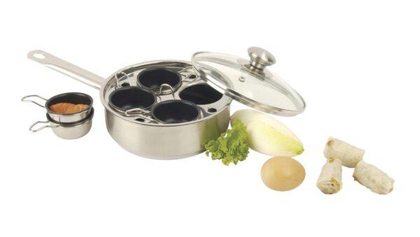 Eine kleine Besonderheit in der Küche stellt die Gourmetpfanne mit vier Schüsseln von Demeyere dar. Es handelt sich um eine 18 cm große Pfanne