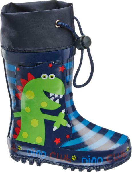In dem lustigen Gummistiefel von Cortina bleibt der Fuß auch an regnerischen Tagen trocken Das blau gestreifte Design wird ergänzt durch einen grünen Dinosaurier an der Seite der auch bei schlechtem Wetter für gute Laune sorgt Am praktischen Gummizug kann der Schaft so verschlossen werden dass auch von oben kein Regen in den Schuh läuft