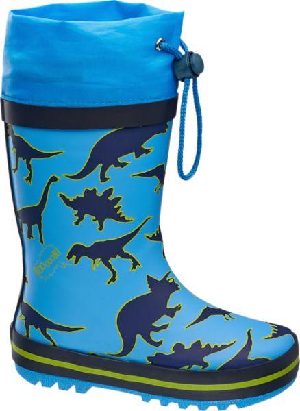 Dieser verspielte Gummistiefel von Cortina garantiert trockene Füße bei jeder noch so tiefen Pfütze und jedem noch so großen Regenabenteuer Mit seinem hochwertigen Innenmaterial aus Textil und Baumwolle verspricht der Gummistiefel nicht nur hohen Komfort sondern wird auch zum idealen Begleiter bei jedem Wetter für die Kleinen im Frühjahr und Sommer Die blaue Farbe und die auf den Schuh gedruckten Dinosaurier sind zudem ein cooler Blickfang bei Regen