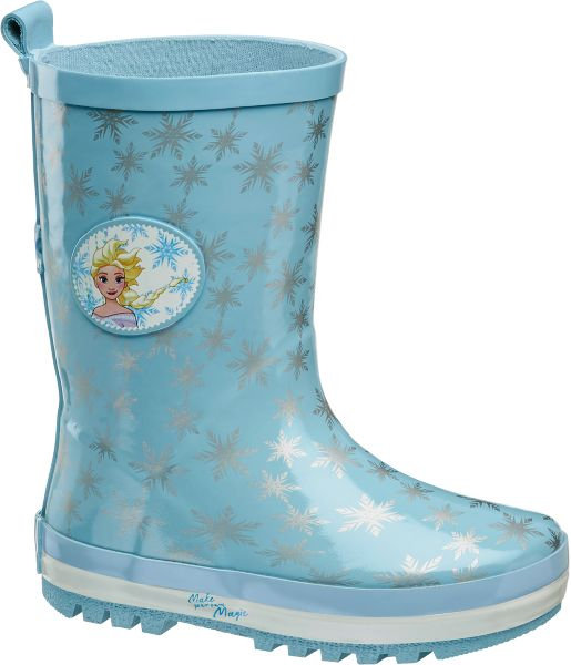 Damit Eisprinzessinnen und Schneeköniginnen stets trockene Füße haben hat Frozen diese trendigen Gummistiefel designt Sie sind aus wasserblauem Gummi gefertigt und mit einer praktischen Zugschlaufe zum leichteren Anziehen versehen Ein silberfarbenes Schneeflocken Muster und ein runder Patch mit bezaubernd schönem Elsa Motiv setzen optische Highlights Die profilierte Laufsohle sorgt für Trittfestigkeit