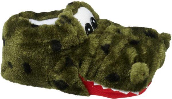 Cosy Crocodile! Mit seinem am Maul eines Krokodils orientierten Design ist der Hausschuh von AGAXY wie gemacht für Abenteuer und Safaris in den eigenen vier Wänden Er ist aus kuschelig weichem Textil gefertigt und innen für ein angenehmes Tragegefühl soft gefüttert Augen Zunge und Zähne des Krokodil Kopfs sind in Schwarz Rot und Weiß abgesetzt