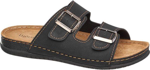 Der Hausschuh von Björndal ist nicht nur für drinnen ideal – auch bei der Gartenarbeit ist er immer dabei Der Schuh ist vorne und hinten offen zwei breite Riemen über dem Spann bieten einen angenehmen Halt Der schwarze Hausschuh ist mit hellen Ziernähten geschmückt Die braune Innensohle ist aus Leder