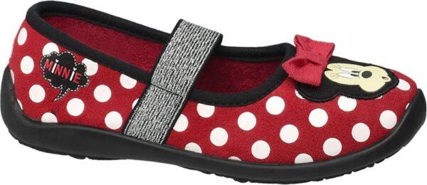 Fans von Minnie Mouse wird der Hausschuh der gleichnamigen Marke begeistern Er kommt in einem weiß roten Tupfenmuster daher und ist mit niedlichen Patches sowie einer roten Stoffschleife verziert Sein Schnitt orientiert sich an einem Ballerina sodass mit dem geschlossenen Design von Schuhspitze und Ferse der Fuß optimal geschützt ist Er besteht aus einem Microfaser Textil Mix und ist mit einem Elastband versehen