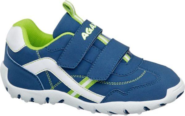 Dank zweifachem Klettverschluss ist der blaue Klettschuh von Agaxy wunderbar unkompliziert in der Handhabung Er ist wie ein Sneaker geschnitten und sorgt mit der profilierten weißen Laufsohle für guten Grip Der Fersenbereich ist verstärkt Innen ist der Schuh mit softem grünem Mesh versehen Applikationen Prints und Label Details in Weiß und Grün peppen den Look auf