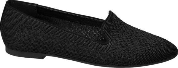 Gefertigt aus elastischem Textil in Knitted Verarbeitung überzeugt der schwarze Loafer von Graceland mit einer attraktiven Häkeloptik und einem angenehmen Tragegefühl Er ist schlank und feminin geschnitten und mit einem flachen 1 cm Blockabsatz versehen Das Innenmaterial besteht ebenfalls aus Textil und ist unifarben schwarz Durch die leichte und luftige Materialqualität eignet sich der Schuh ideal für die warme Jahreszeit