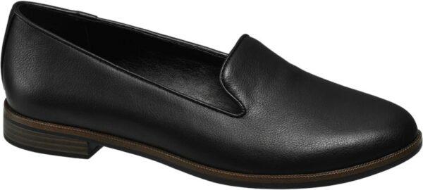 Der Loafer von Graceland setzt auf ein angenehm zurückhaltendes Design in zeitlosem Schwarz Er ist schlank aber bequem geschnitten und in cleaner Glattleder Optik gestaltet Die Laufsohle und der flache 2 cm Blockabsatz sind in einer attraktiven Schichtoptik in Schwarz und Braun gehalten Durch die dunklen Farben und den klassischen Schnitt lässt sich der Loafer vielseitig kombinieren