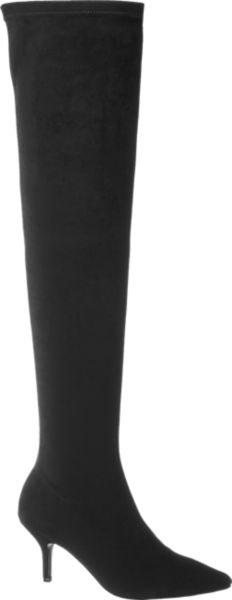 Die schwarzen Overknee Stiefel von Blink setzen lange Beine großartig in Szene Mit dem bis übers Knie reichenden Schaft passen sie perfekt zu Leggings oder zu kurzen Röcken plus Strumpfhose Der Fußbereich des Overknee ist schmal und eng anliegend geschnitten und läuft vorne spitz zu Durch den grazilen 9 5 cm Pfennigabsatz entsteht eine umwerfend feminine Silhouette