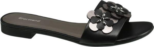 Weniger ist manchmal mehr Die schwarze Pantolette von Graceland gefällt mit einer luftigen Gestaltung und einem tonigen Design Schuhspitze und Ferse sind offen – für Halt sorgt der über den Spann verlaufende Riemen in schwarzer Lederoptik Das Innenmaterial die Laufsohle und der 2 2 cm Blockabsatz sind ebenfalls schwarz Der Paillettenbesatz in Blumenform bringt eine glamouröse Note ins Spiel