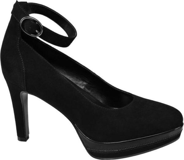 Mit gutem Grund sind schwarze Pumps wie das Paar von Catwalk Evergreens der Schuhmode Sie lassen sich zu alltäglichen geschäftlichen und festlichen Anlässen tragen und verleihen jedem Outfit eine feminine Ausstrahlung Diese Pumps sind schlank geschnitten aus Synthetik und Textil gefertigt und zaubern mit Plateausohle und 9 5 cm Absatz beeindruckend lange Beine Lack Details und das nostalgische Fesselriemchen geben ihnen einen Hauch Gothic Chic
