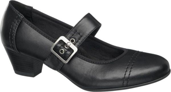 Die schwarzen Pumps von Easy Street sind im Design klassischer Spangen Pumps gestaltet Glatt und dezent glänzend zeigt sich das Obermaterial in Lederoptik Ferse und Schuhspitze sind mit tonalen Nähten abgesetzt Der Riemen über dem Schuhausschnitt ist mit einer eckigen Metallschließe versehen und kann verstellt werden Der Blockabsatz hat eine bequeme Höhe von 4 5 cm