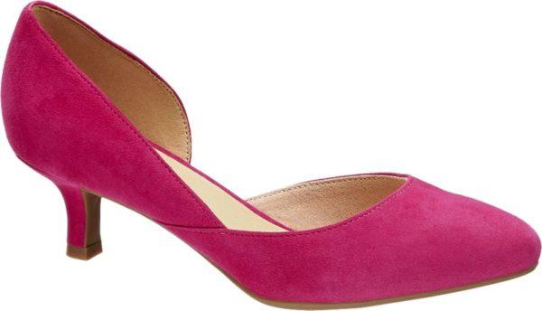 Mit diesem Pumps präsentiert 5th Avenue ein absolutes It Piece Nicht nur die Farbgebung in angesagtem Hot Pink sondern auch die feminine Linienführung macht den Schuh so unwiderstehlich Er ist schlank geschnitten an der Innenseite teils offen designt und läuft vorne sehr schmal zu Stilvoll abgerundet wird die elegante Kreation von einem leicht geschwungenen 5 cm Pfennigabsatz