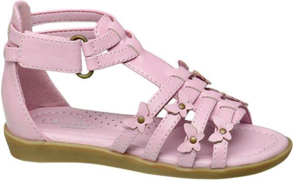 Passend zum Label Namen präsentiert sich die Sandale von Cupcake Couture in einem zuckersüßen Rosa Pink Schnitt und Design erinnern mit höherem Schaft luftigen Riemchen und offener Schuhspitze ein wenig an eine Römersandale Im Fersenbereich ist der Schuh geschlossen um kleinen Füßen guten Halt zu geben Die Laufsohle ist hellbraun abgesetzt Hübsche Schmetterlings Applikationen machen den Look perfekt