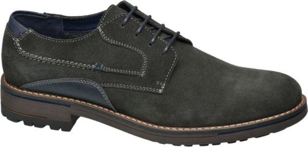 Für einen stilvollen Hingucker sorgt der Schnürer von AM Shoes in dunklem Grau der sich besonders gut zum schickeren Freizeitlook macht Hochwertige Materialien wie leichtes PU und Leder bieten hohen Tragekomfort Blaue Einsätze an den Seiten und der oberen Fersenkappe sowie helle Nähte bilden einen angesagten Kontrast zum grauen Schuh