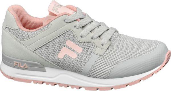 Sanfte Farben softer Komfort – so versteht der Sneaker von Fila zu gefallen Er ist aus grauem Synthetik und Mesh gefertigt und innen mit pink rosafarbenem Mesh und Textil versehen Mit dem bequemen Schnitt und dem weich gepolsterten Schaft sorgt der Sneaker für ein angenehmes Tragegefühl Die weiße Laufsohle ist ebenfalls in rosa abgesetzt und auch die Label Details sind rosafarben