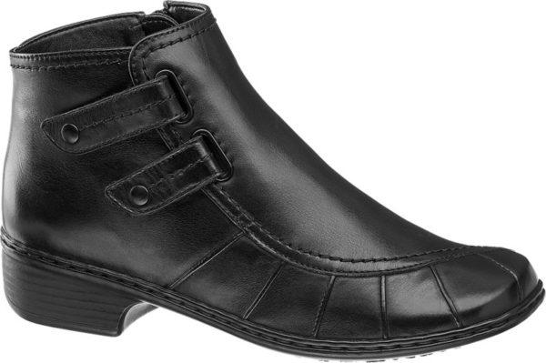 Die Stiefelette Weite H von Medicus ist aus schwarzem Leder gefertigt und sehr bequem geschnitten Sie gewährt dem Fuß ausreichend Platz und bietet mit dem gemäßigten 4 cm Blockabsatz ein angenehmes Tragegefühl Markante Nähte und zwei Zierriemen akzentuieren das Obermaterial innen ist der Schuh warm gefüttert Dank Reißverschluss wird das An und Ausziehen erleichtert