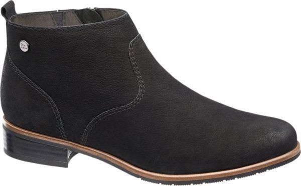 Wie nahezu alle Schuhe der Marke 5th Avenue ist auch diese Stiefelette aus echtem Leder gefertigt Schwarzes Nubukleder mit natürlicher Maserung und feiner Struktur verleiht dem clean designten Schuh seine hochwertige Ausstrahlung Der Schnitt ist schmal und feminin und wird von Teilungsnähten entlang des hochgezogenen Vorderblatts und der Ferse akzentuiert Ein warmes Innenfutter sorgt für zusätzlichen Komfort