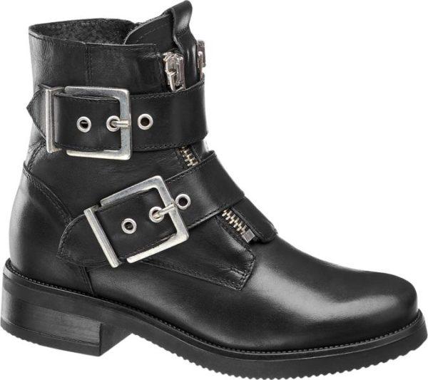 Diese wunderschöne Stiefelette von 5th Avenue wird zum Hingucker eines jeden Outfits mit dem sie getragen wird Sowohl bei der Arbeit als auch in der Freizeit macht dieser Schuh eine gute Figur Aufgrund des bequemen Innenmaterials aus Textil und einem 4 cm hohen Blockabsatz ist der Schuh auch am Ende eines langen Tages noch bequem Das Obermaterial besteht aus hochwertigem schwarzen Leder und die aufgesetzten Schnallen verleihen dem Schuh sein ganz besonderes Aussehen