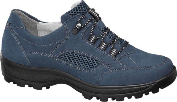In dem blauen Schnürer von Medicus fühlen sich auch anspruchsvolle Füße wohl Die Material Kombination aus Leder und Textil sorgt für ein gutes Schuhklima und ein angenehmes Tragegefühl Mit der bequemen Passform in Weite H bietet der Schnürschuh ausreichend Platz Er ist im Fersenbereich für guten Halt verstärkt und unter der Lasche gepolstert Die schwarze Laufsohle ist griffig profiliert