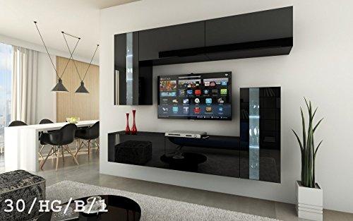 HomeDirectLTD Future 30 Wohnwand Anbauwand Wand Schrank Möbel  Wohnzimmerschrank Wohnzimmer TV-Schrank Hochglanz Weiß Schwarz LED RGB  Beleuchtung ...